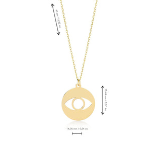 Evil Eye Gold Plated 925K Silver Pendant Necklace