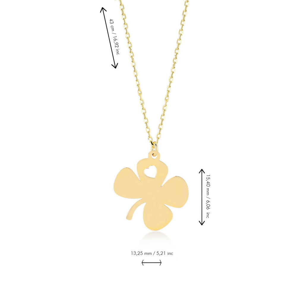 Four Leaf Clover Engraving with Cute Heart 14K Gold Pendant Necklace