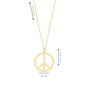 Peace Sign Gold Plated 925K Silver Pendant Necklace