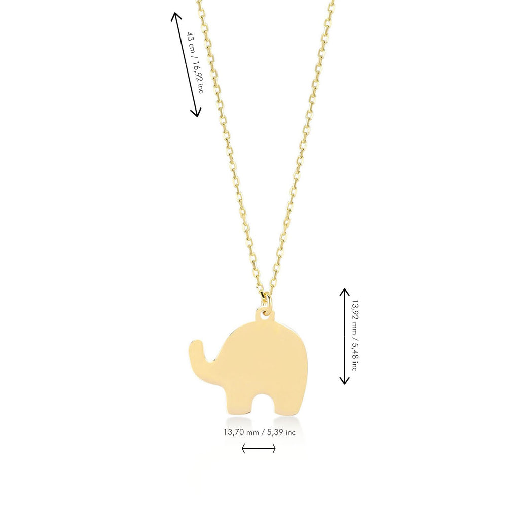 Good Luck Elephant Gold Plated 925K Silver Pendant Necklace