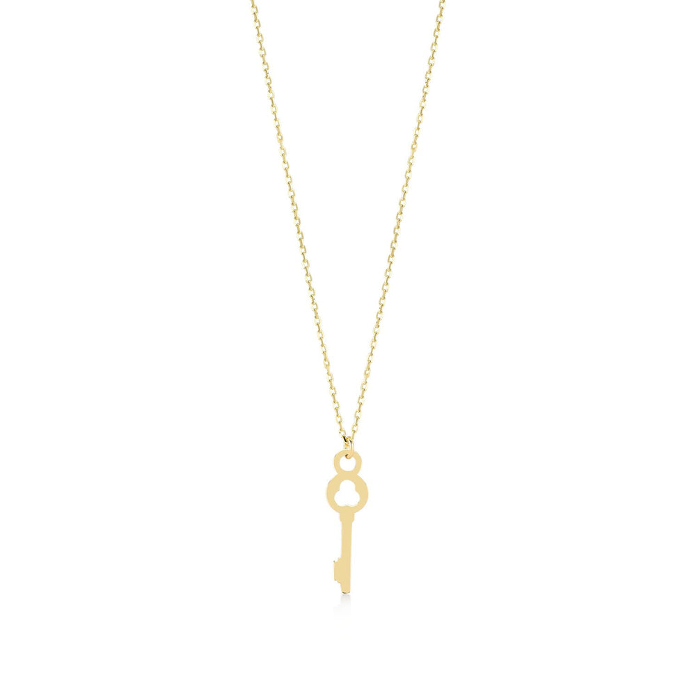 Lucky Key Gold Plated 925K Silver Pendant Necklace