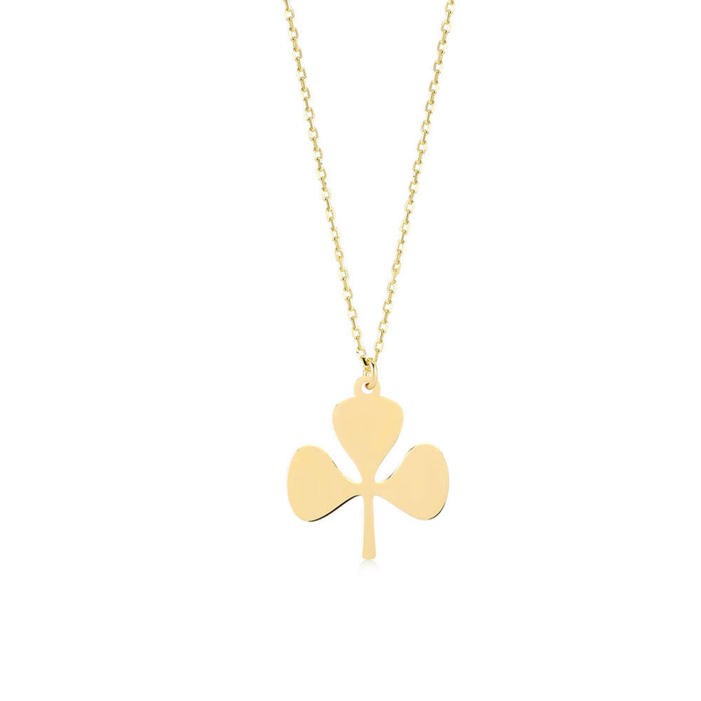 Load image into Gallery viewer, Three-Leaf Clover 14K Gold Pendant Necklace