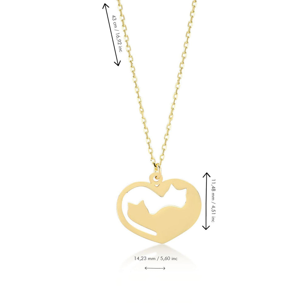 Couple Cat in Heart Gold Plated 925K Silver Pendant Necklace