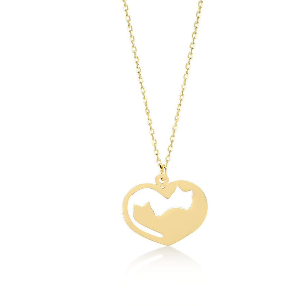 Couple Cat in Heart 14K Gold Pendant Necklace