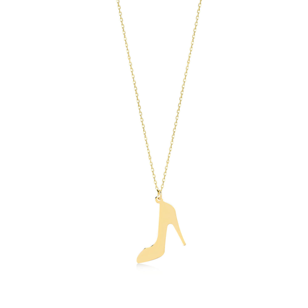 Stiletto High Heel 14K Gold Pendant Necklace