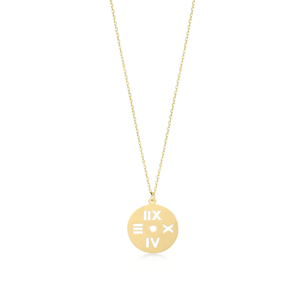 Roman Numerals 14K Gold Pendant Necklace