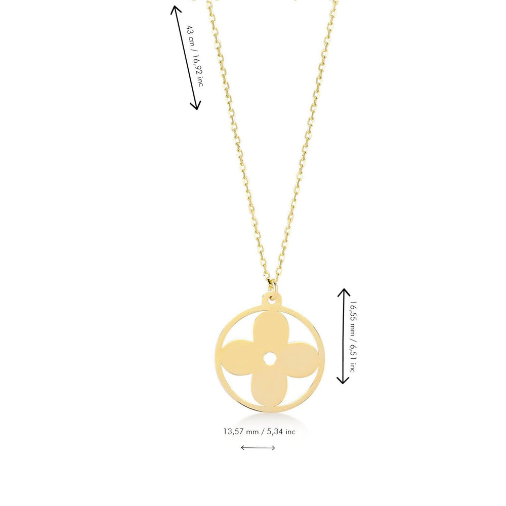 Minimalist Floral Gold Plated 925K Silver Pendant Necklace