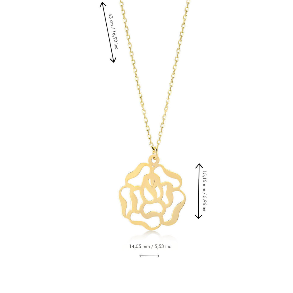 Load image into Gallery viewer, Rose Figured 14K Gold Pendant Necklace