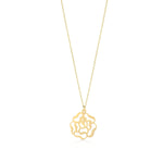 Rose Figured 14K Gold Pendant Necklace
