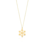 Shinny Snow Flake 14K Gold Pendant Necklace