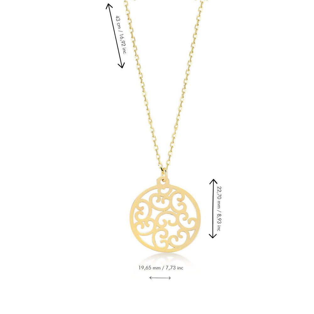Shinny Flower of Life Big Size 14K Gold Pendant Necklace