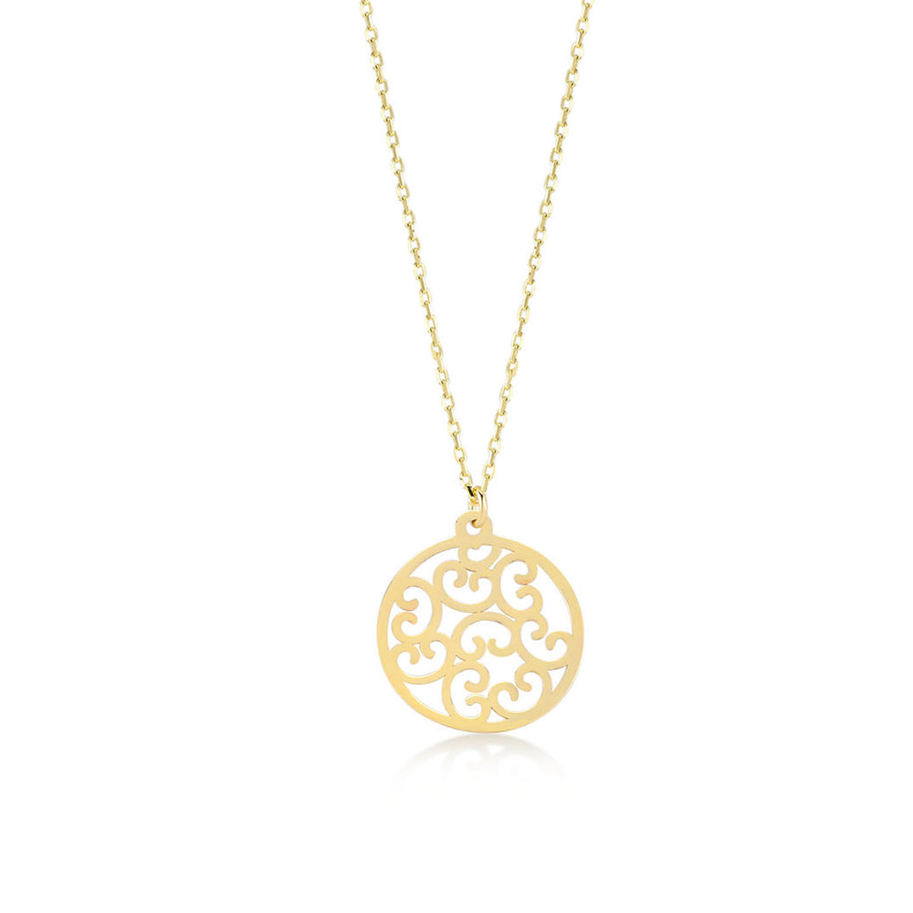 Load image into Gallery viewer, Shinny Flower of Life Big Size 14K Gold Pendant Necklace