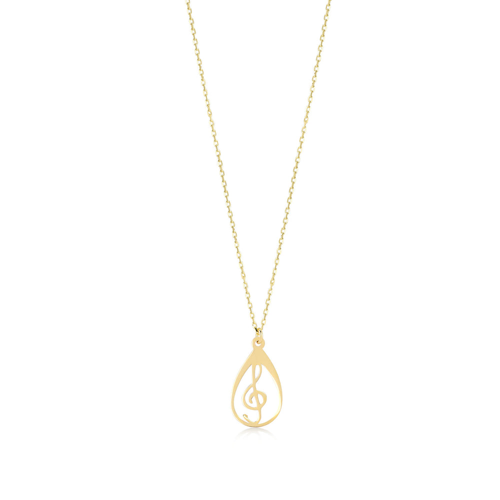 Treble Clef Figured 14K Gold Pendant Necklace