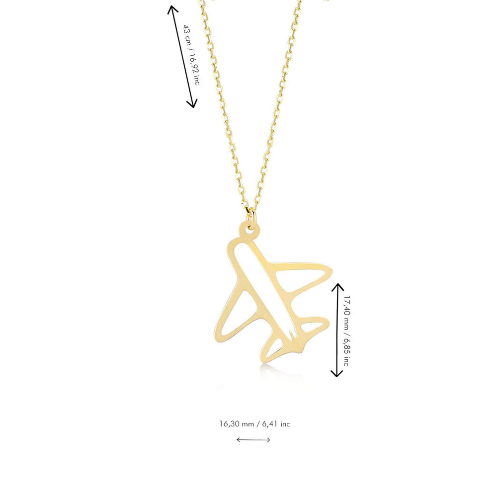 Airplane 14K Gold Pendant Necklace