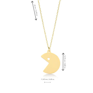Pacman Inspired Gold Plated 925K Silver Pendant Necklace