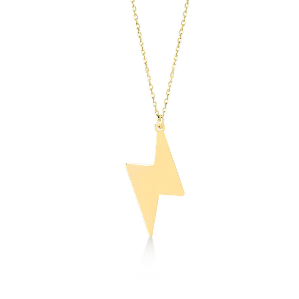 Lightning Bolt 14K Gold Pendant Necklace