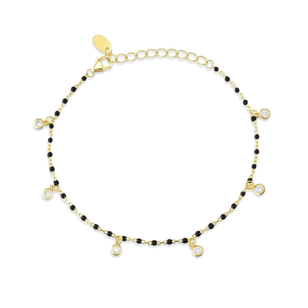 Bead Black Stone Gold Plated 925K Silver Bracelet