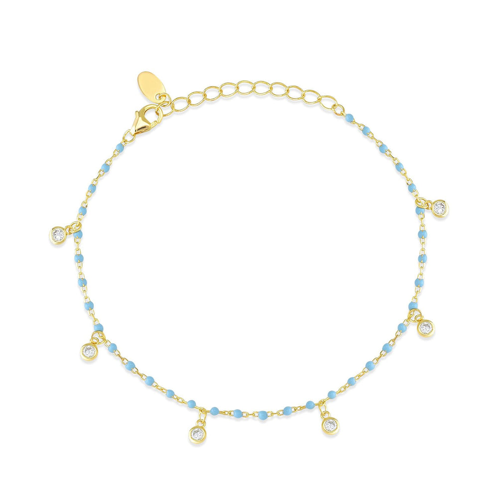 Bead Blue Stone Gold Plated 925K Silver Bracelet