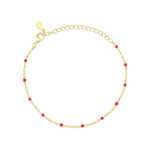 Bead Red Stone Gold Plated 925K Silver Bracelet