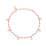 Bead Red Stone Rose Gold Plated 925K Silver Bracelet