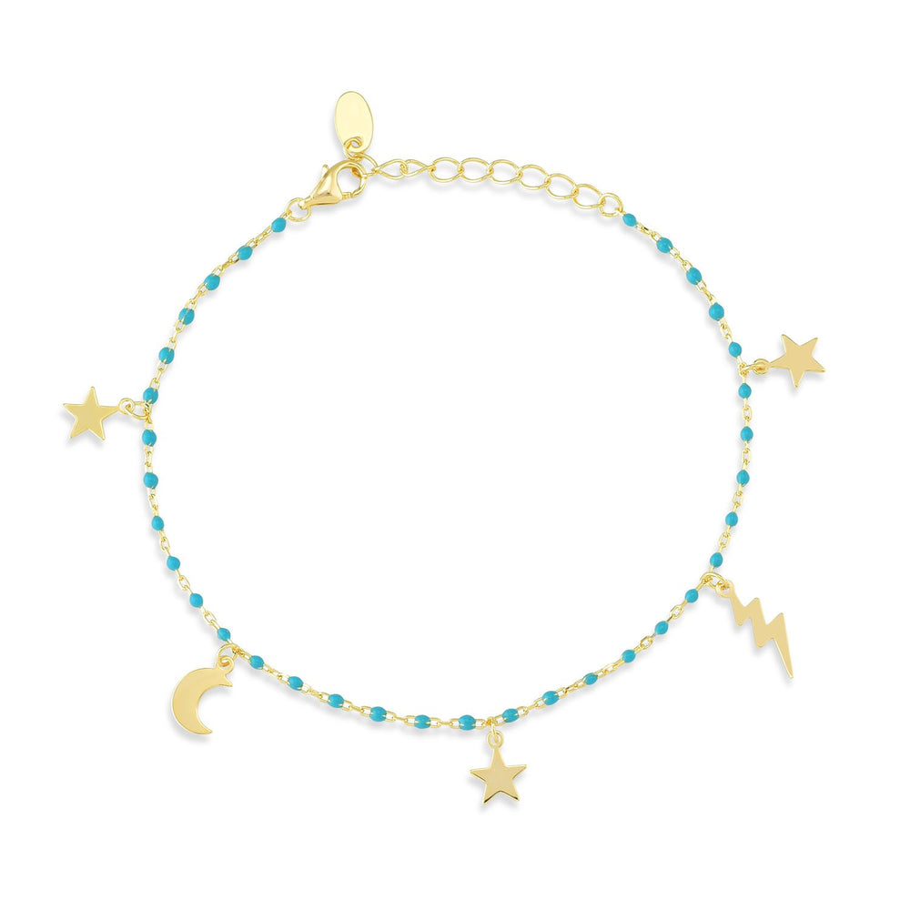 Star Moon Lightning Blue Stone Gold Plated 925K Silver Bracelet