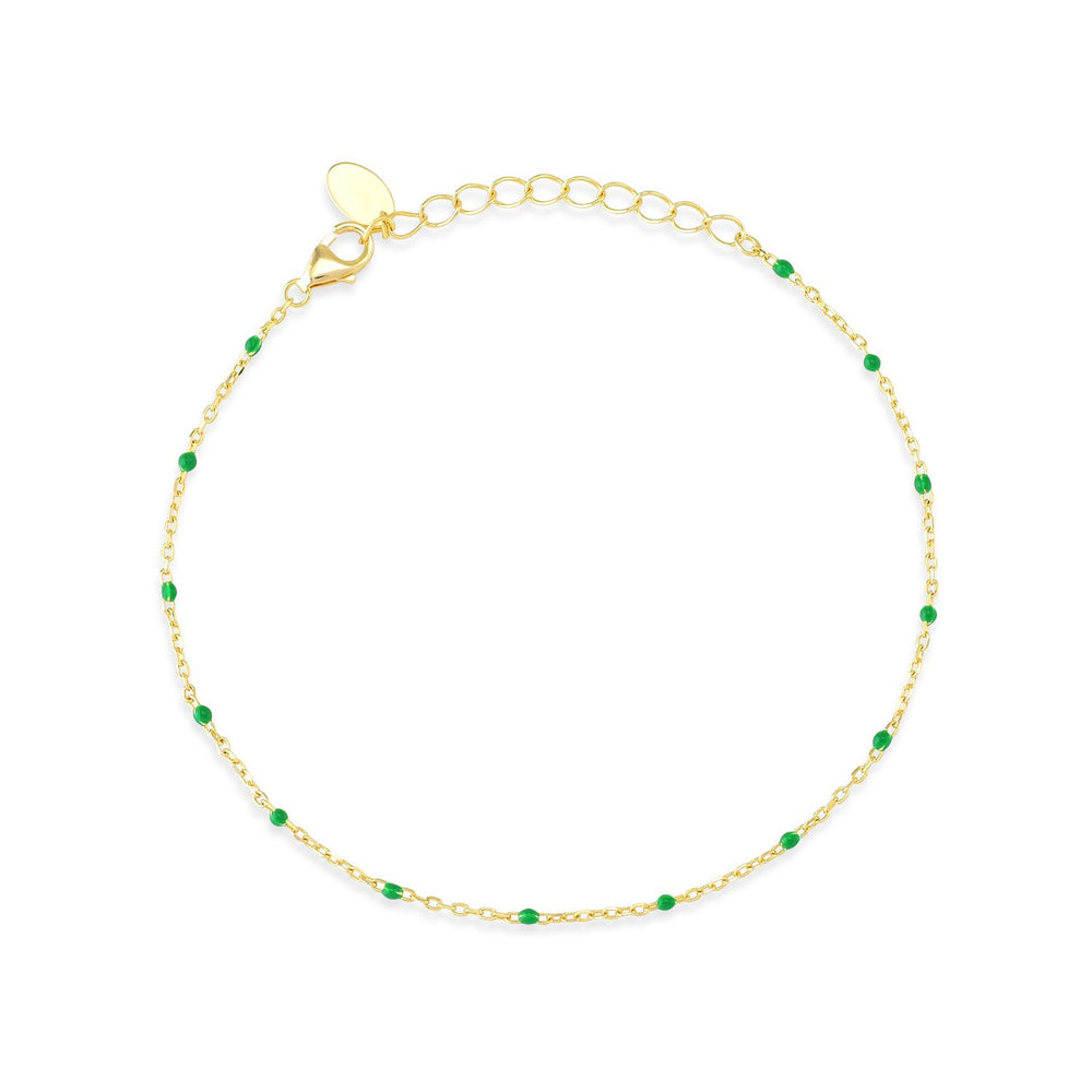 Green Stone Gold Plated 925K Silver Bracelet