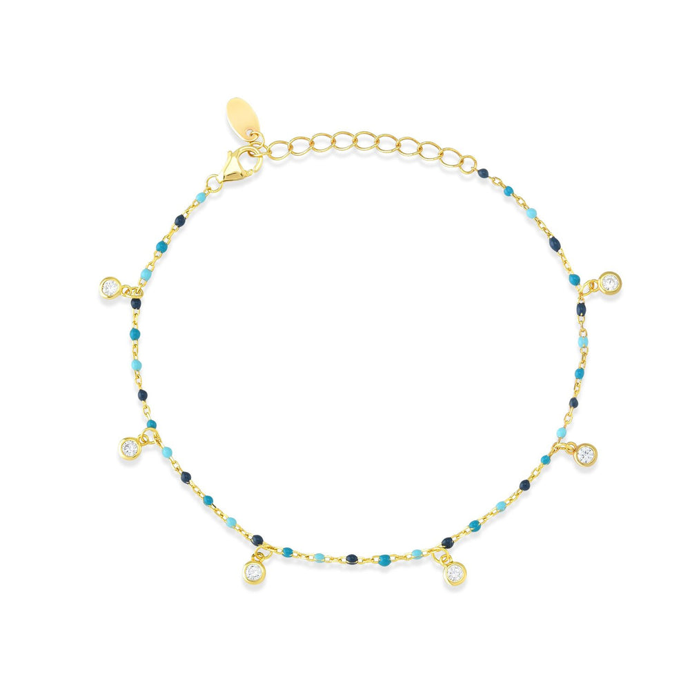 Dark Blue And Light Blue Stones Gold Plated 925K Silver Bracelet
