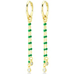 Two Stones Earring Tip Green Bounce Long Chain Gold Plated 925K Silver Earring