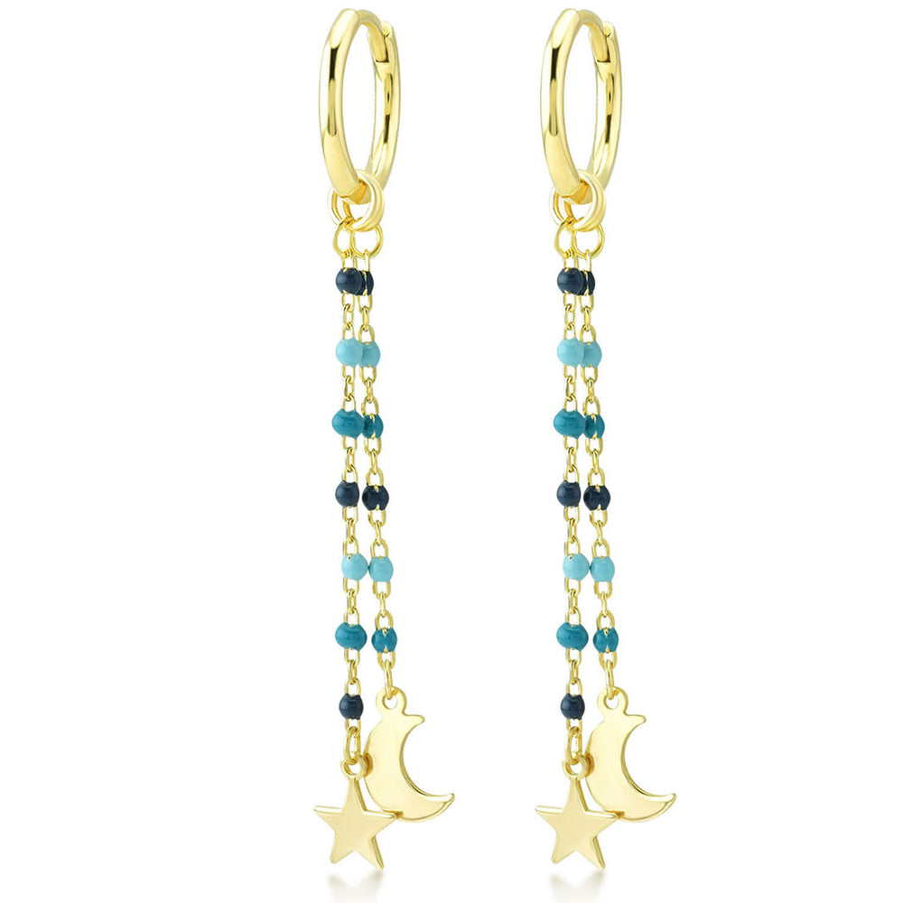 Moon And Star Earring Tip Dark Blue And Blue Bounce Long Chain Gold Plated 925K Silver Earring