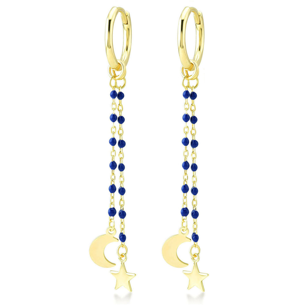 Moon And Star Earring Tip Dark Blue Bounce Long Chain Gold Plated 925K Silver Earring