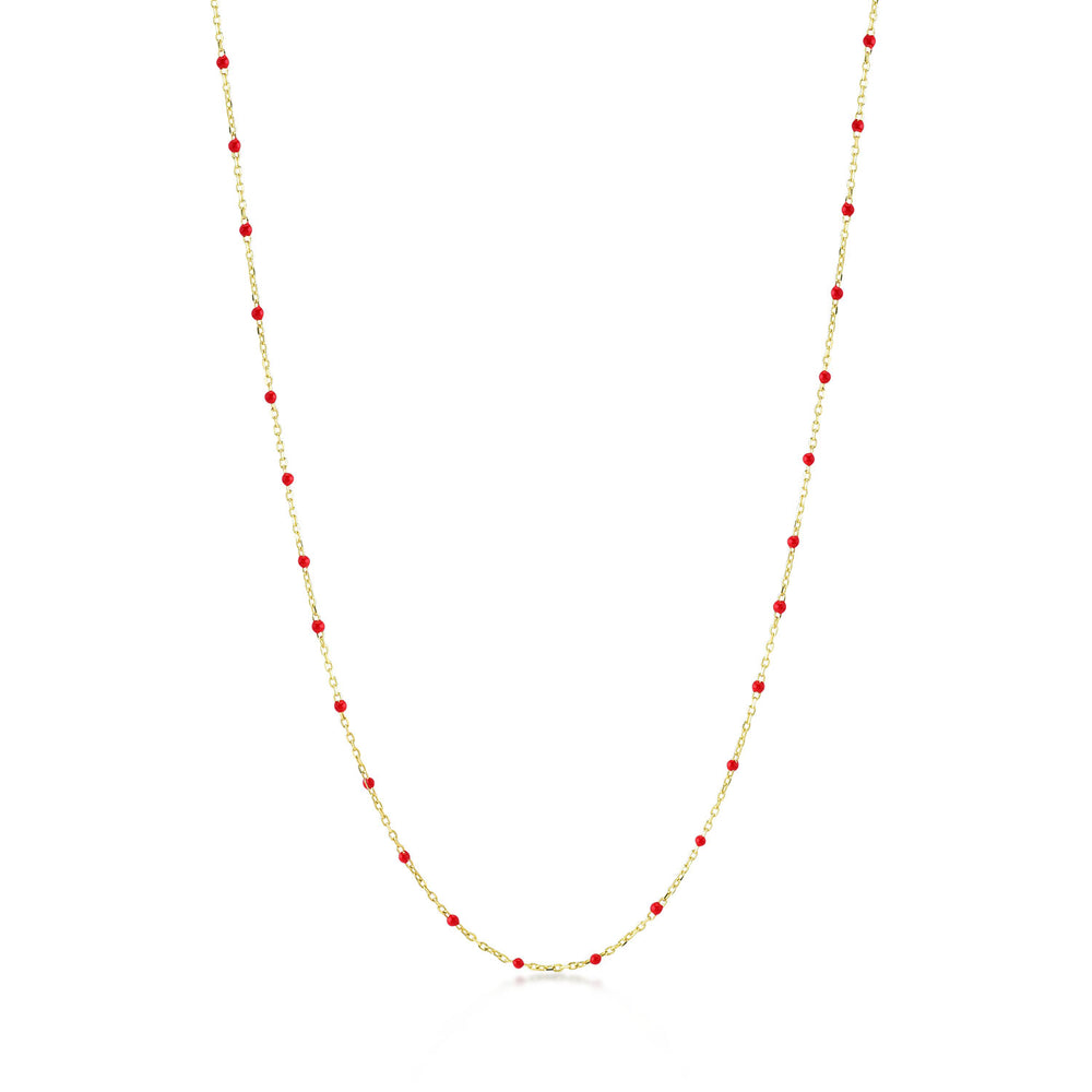 Red Chain Gold Plated 925K Silver Necklace