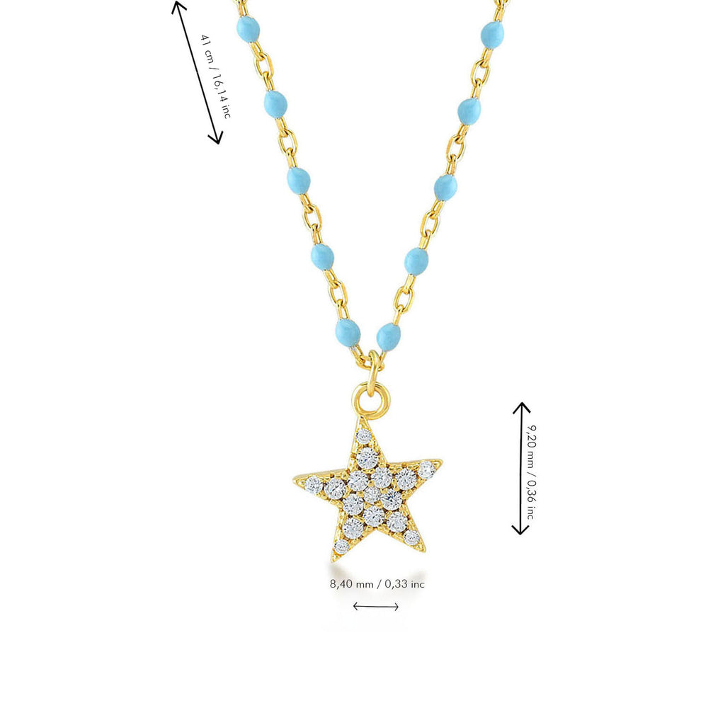 Star Stone Blue Chain Gold Plated 925K Silver Necklace