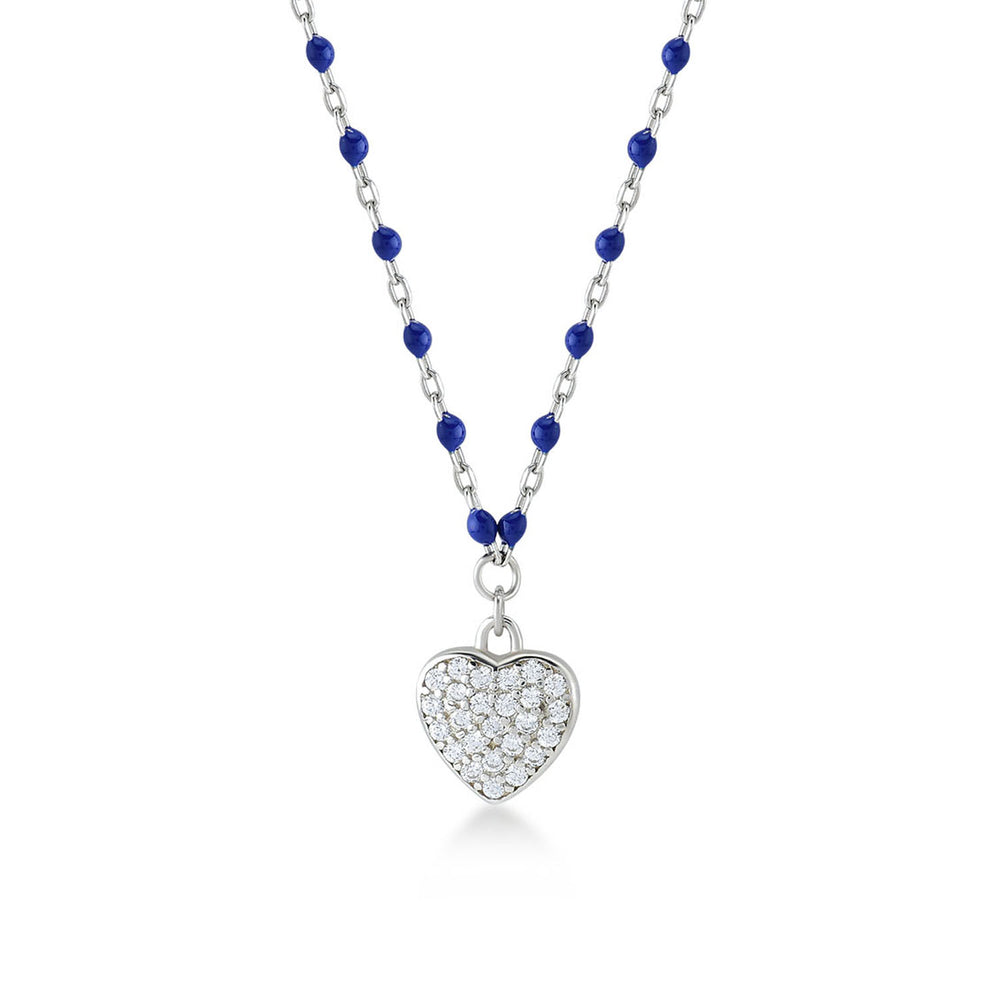 Load image into Gallery viewer, Heart Stone Dark Blue Chain 925K Silver Necklace