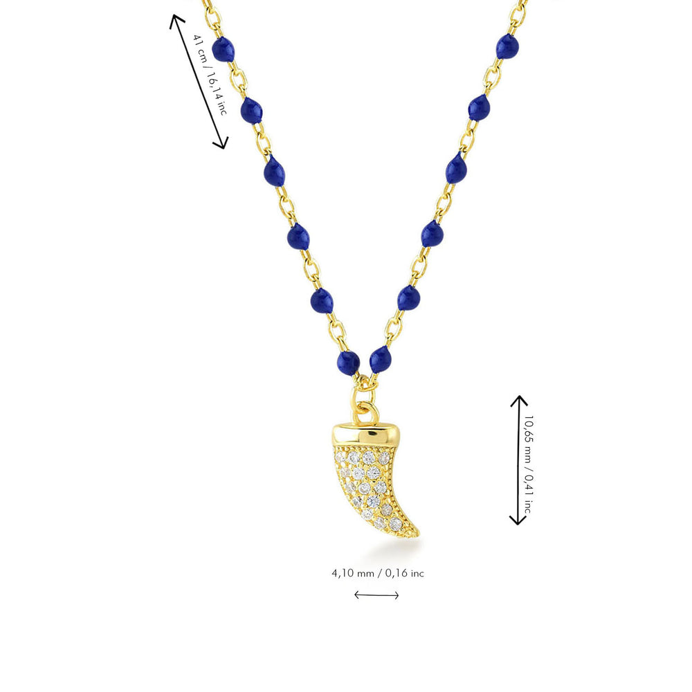 Elepthant Tooth Dark Blue Chain Gold Plated 925K Silver Necklace