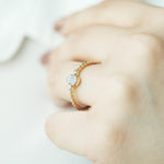 Minimalist Baguette Twisted Gold Plated 925K Silver Ring