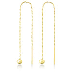 Long Chain One Stick One Ball Gold Plated 925K Silver Earring