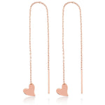 Long Chain One Stick One Heart Rose Gold Plated 925K Silver Earring