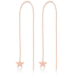 Long Chain One Stick One Star Rose Gold Plated 925K Silver Earring