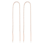 Long Chain Two Stick Rose Gold Plated 925K Silver Earring