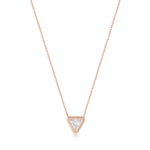 White Stone Triangle Rose Gold Plated 925K Silver Necklace