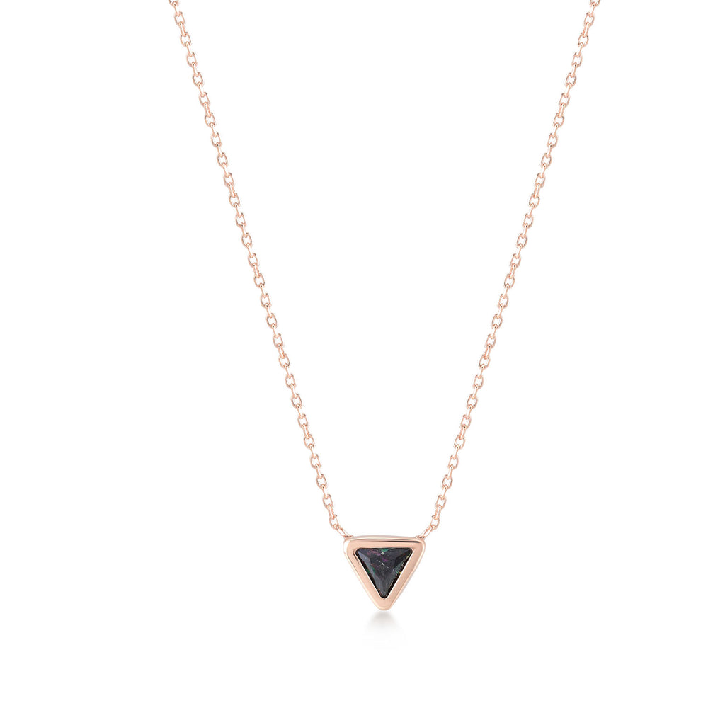 Black Stone Triangle Rose Gold Plated 925K Silver Necklace