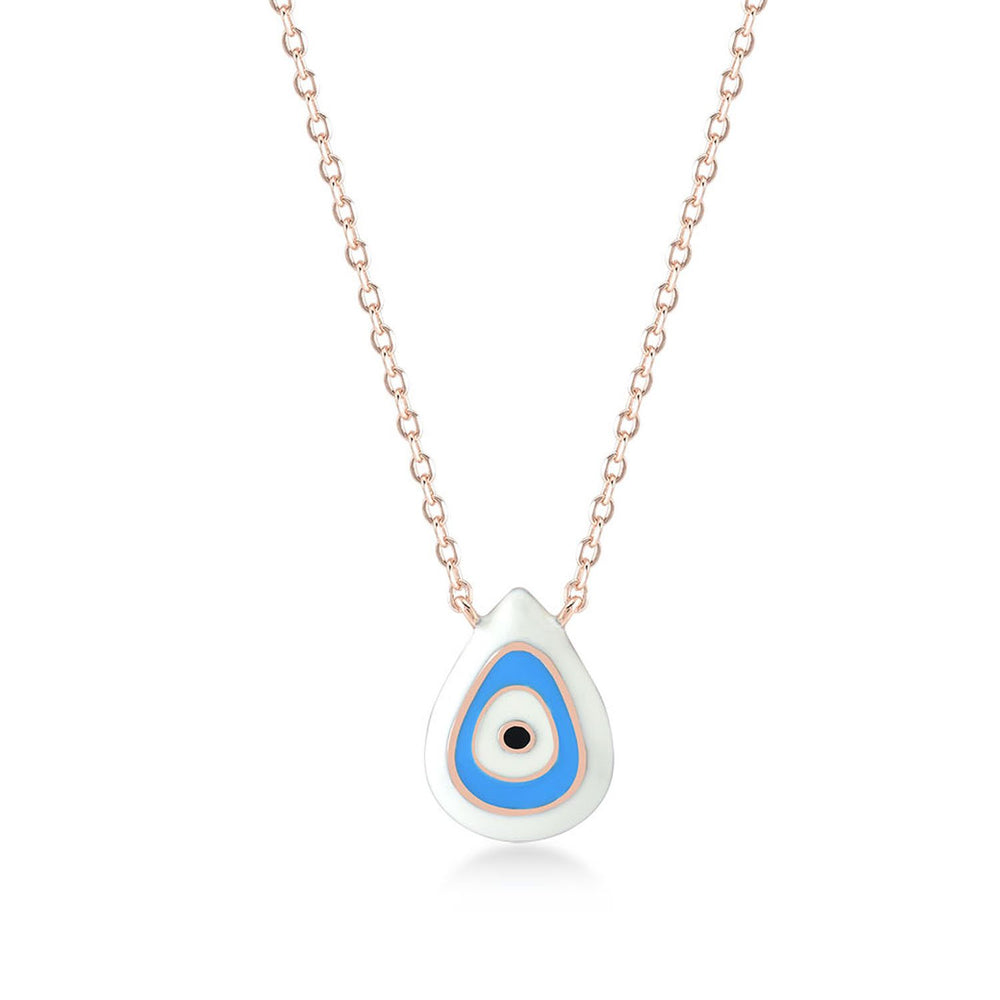 White in Evil Eye Rose Gold Plated 925K Silver Necklace