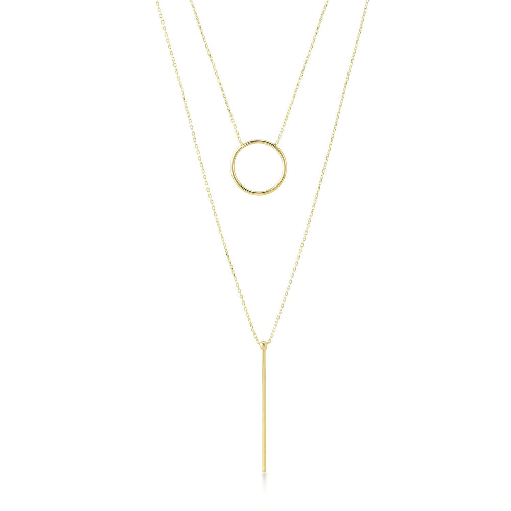 Straight Line And Circular Gold Plated 925K Silver Necklace