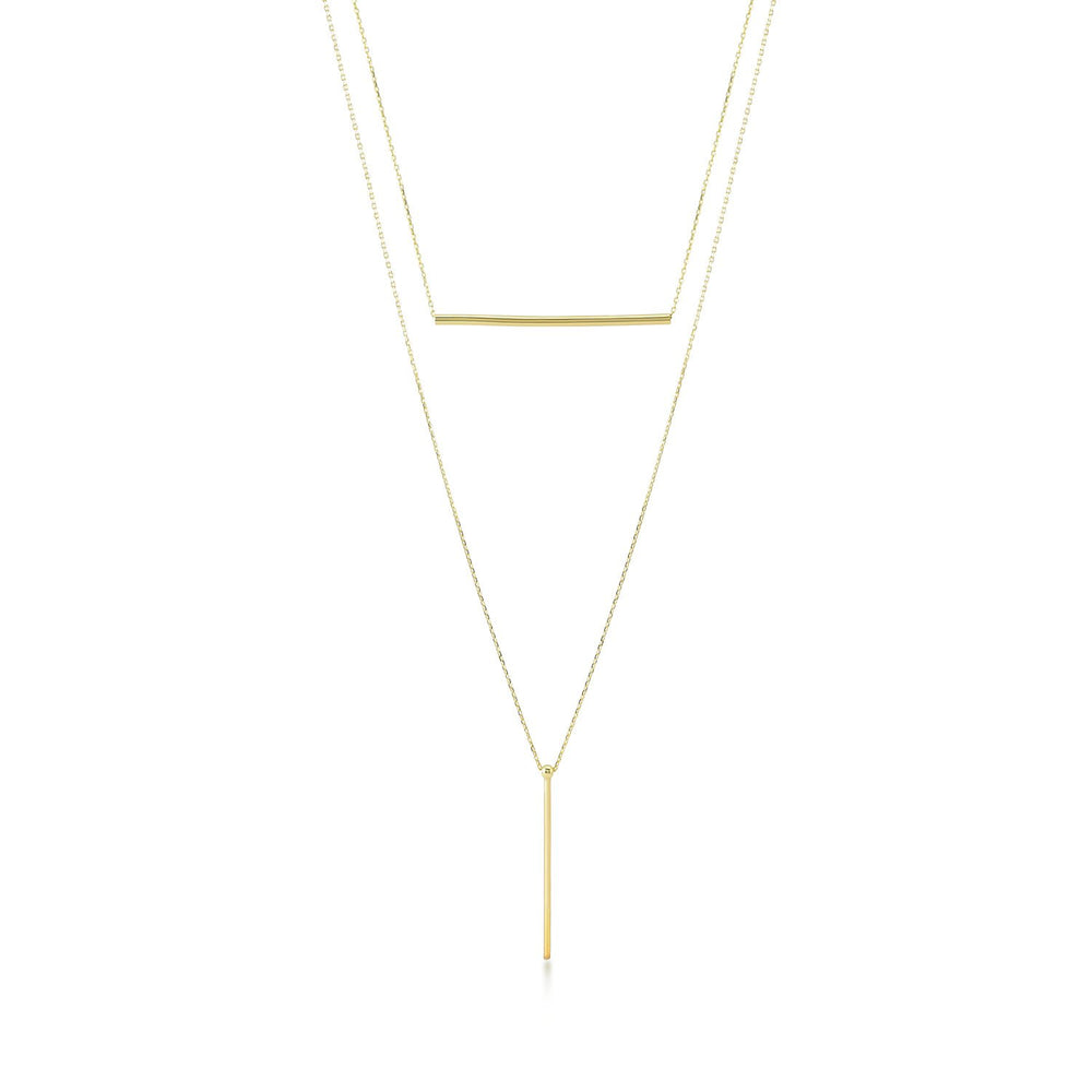 Straight Line And Side Line Gold Plated 925K Silver Necklace