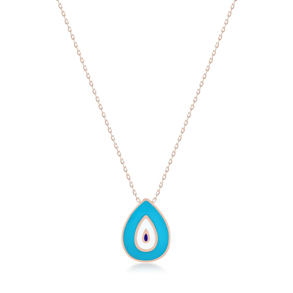 Turquoise Teardrop Evil Eye Rose Gold Plated 925K Silver Necklace