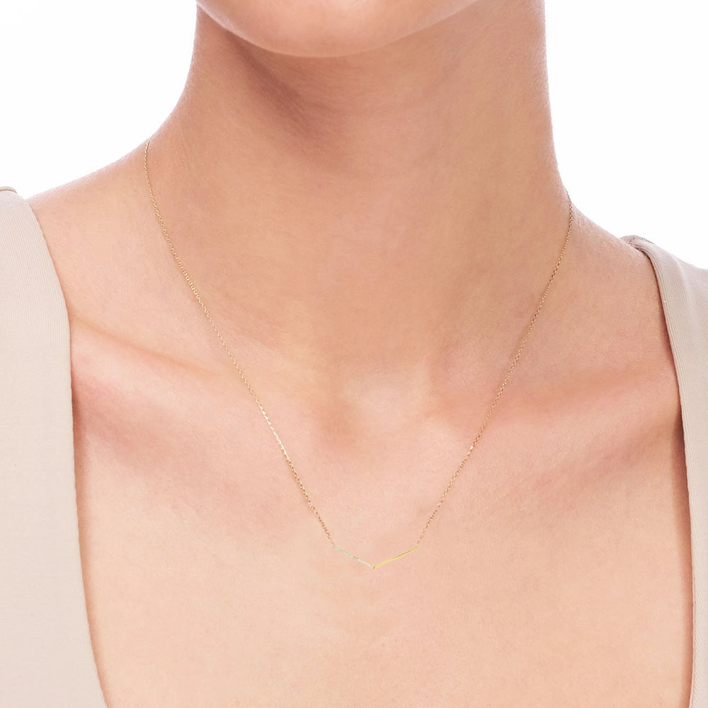 V Shape Gold Plated 925K Silver Necklace