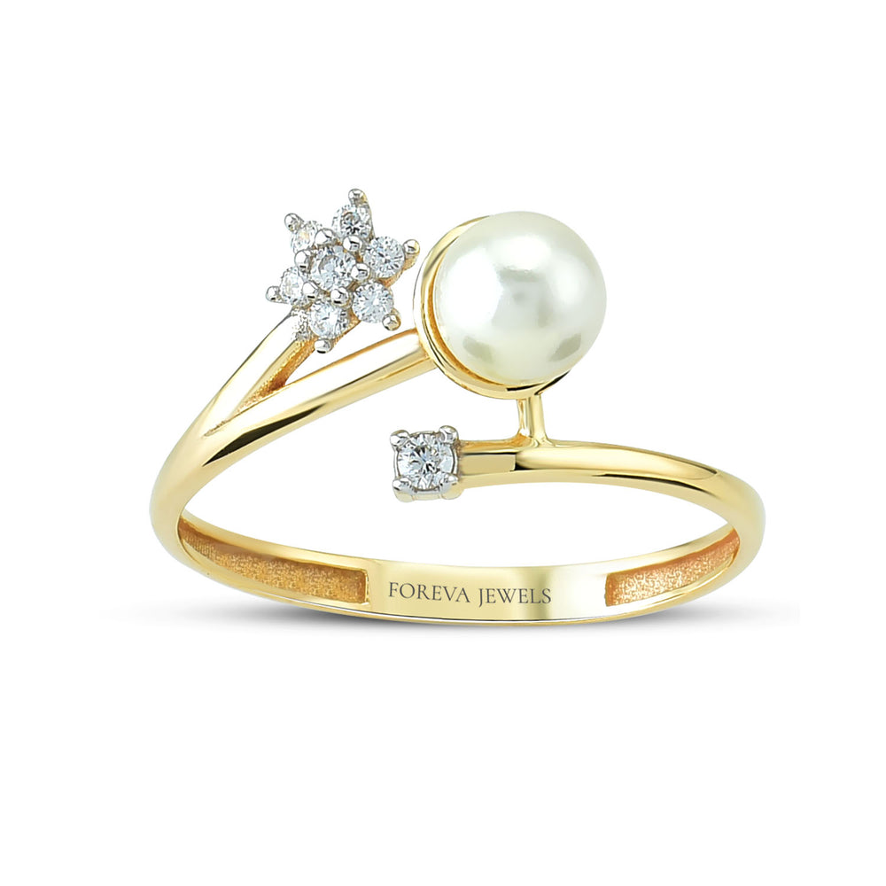 Minimalist Star Stone Pearl Gold Plated 925K Silver Ring