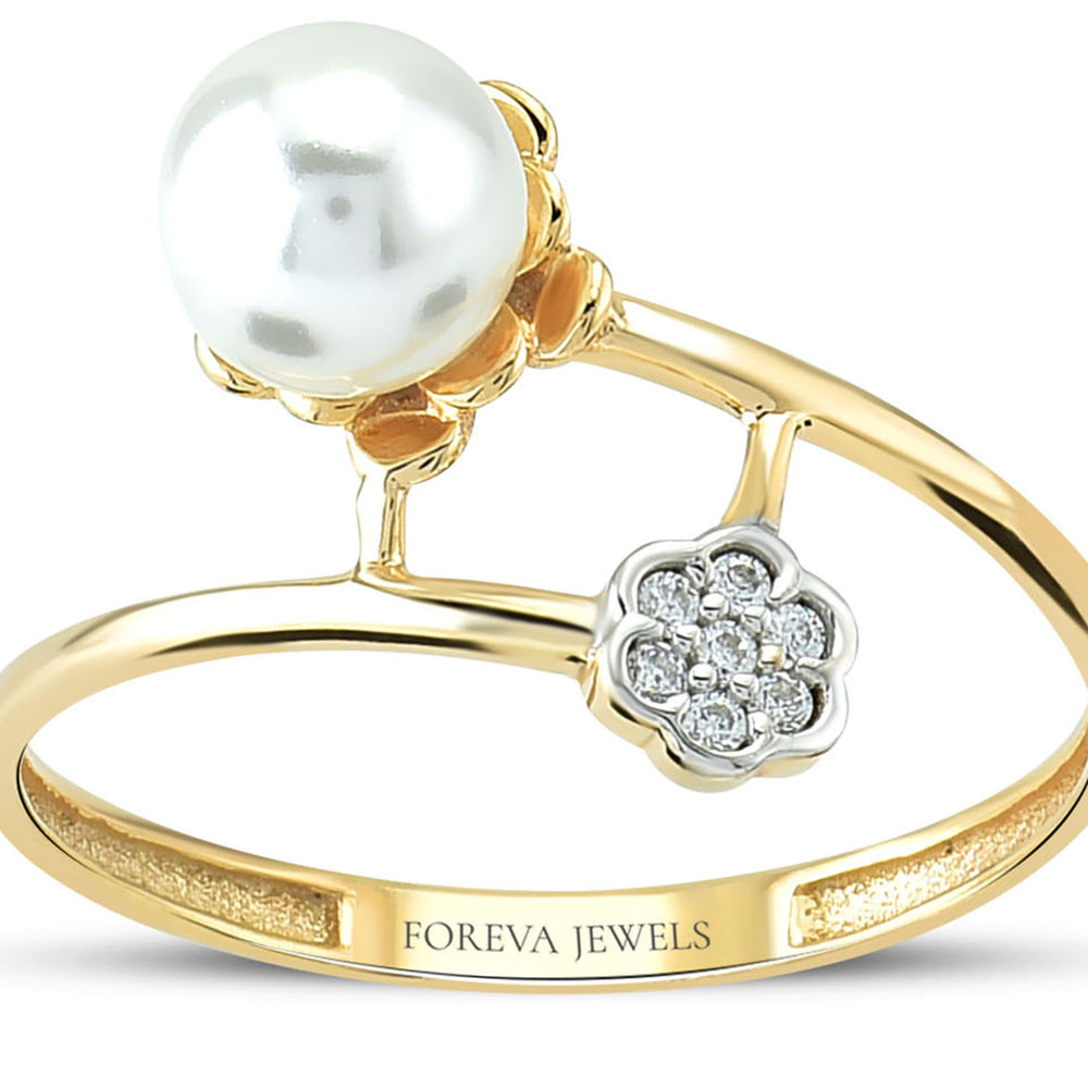 Minimalist Flower Stone Shape With Pearl Gold Plated 925K Silver Ring