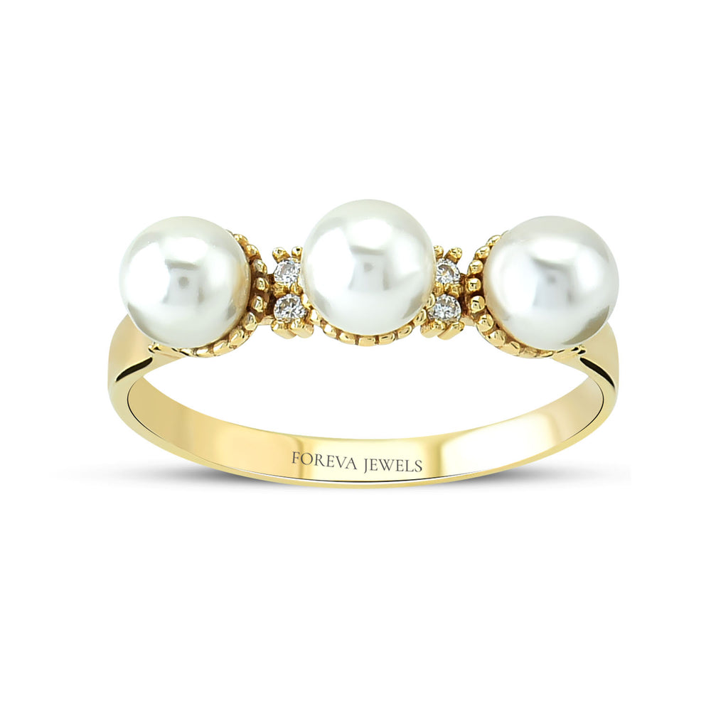 Minimalist Three Pearl Gold Plated 925K Silver Ring