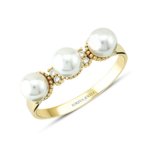 Load image into Gallery viewer, Minimalist Three Pearl Gold Plated 925K Silver Ring